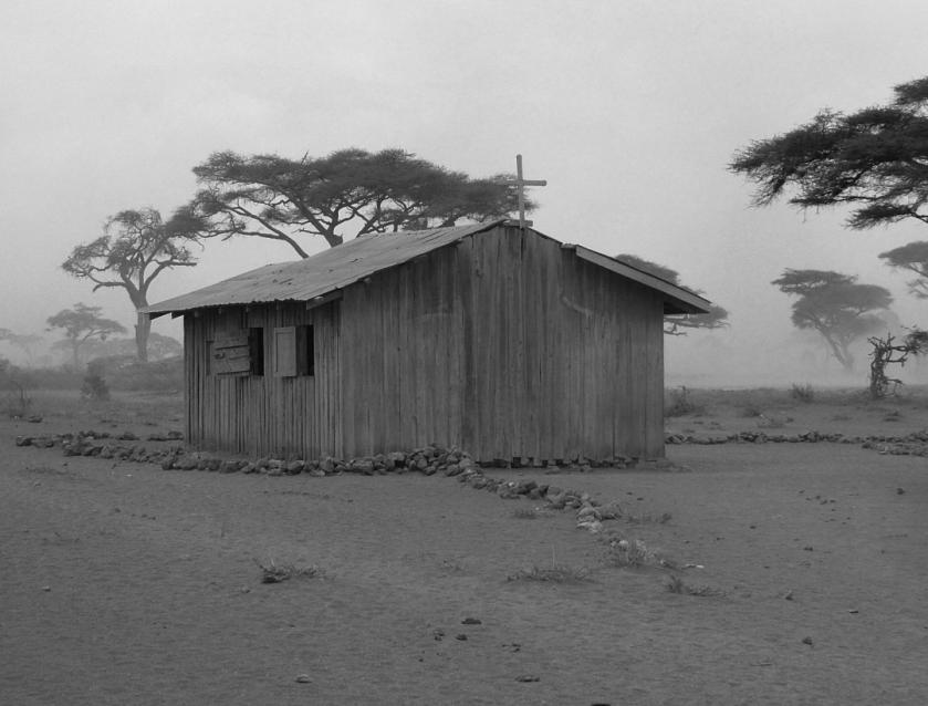 Masai Church & School - B&W